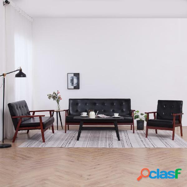 vidaXL Juego de sofás 3 piezas de cuero sintético negro