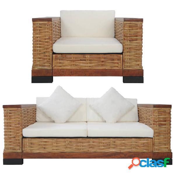 vidaXL Juego de sofás con cojines 2 piezas de ratán