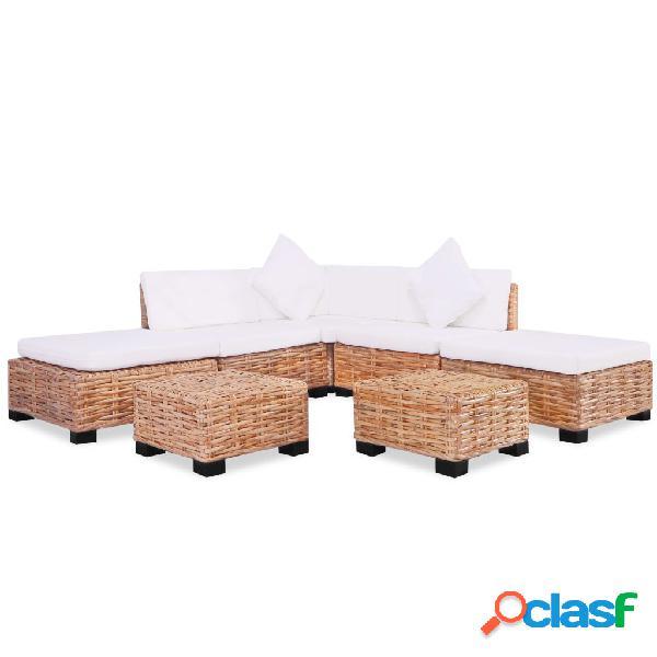 vidaXL Juego de sofás de 18 piezas ratán natural