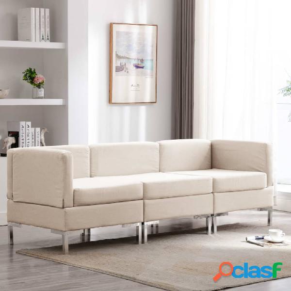 vidaXL Juego de sofás de 3 piezas de tela color crema