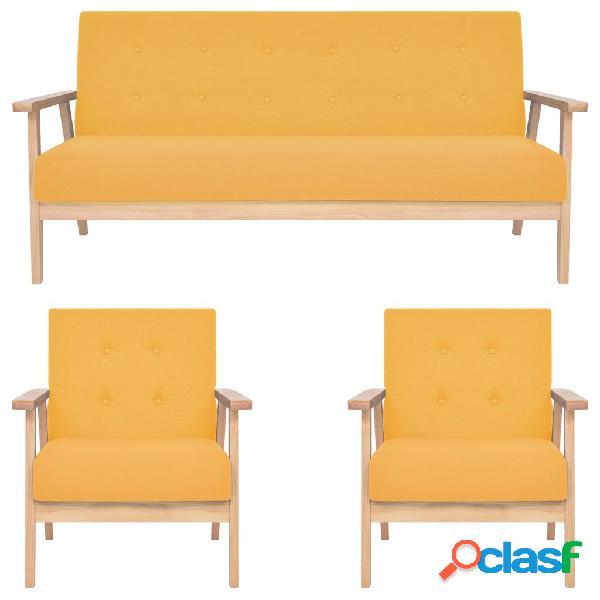vidaXL Juego de sofás de 3 piezas tela amarillo