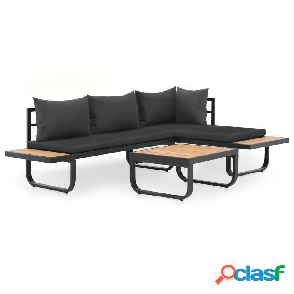 vidaXL Juego de sofás de esquina 2 piezas con cojines