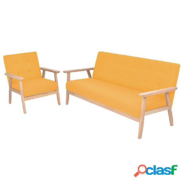 vidaXL Juego de sofás de tela de 2 piezas color amarillo