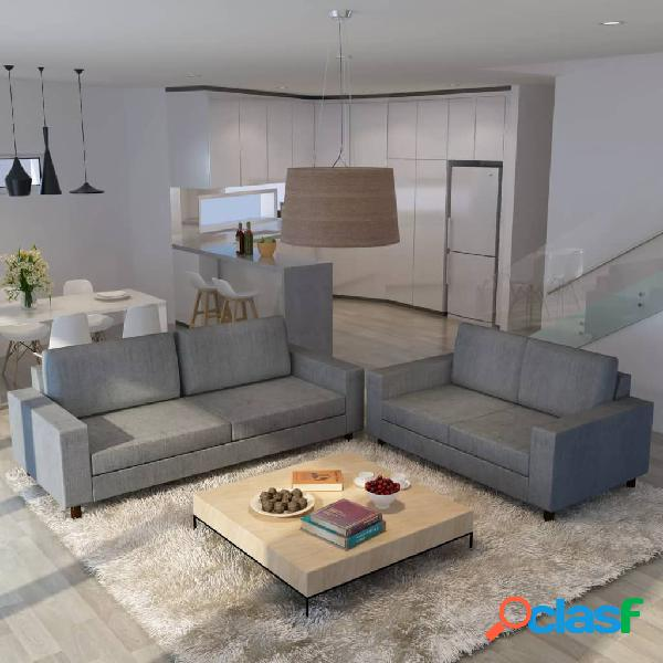 vidaXL Juego de sofás para 5 personas 2 unidades tela gris