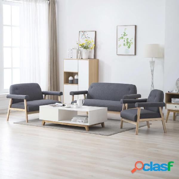 vidaXL Juego de sofás para 6 personas 3 piezas tela gris