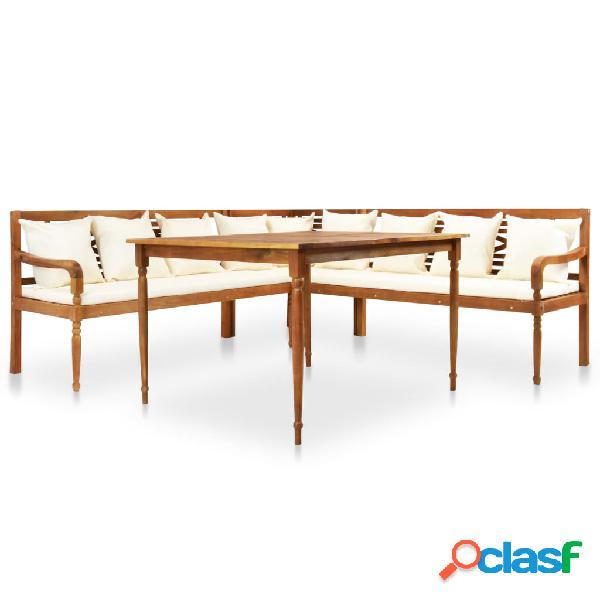 vidaXL Juego muebles de jardín 4 piezas y cojines madera