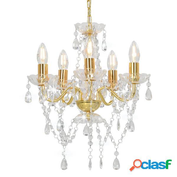 vidaXL Lámpara de araña con cuentas de cristal dorado