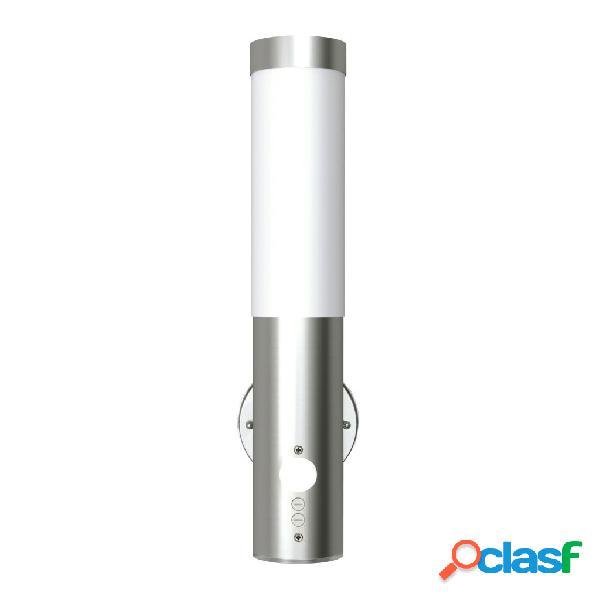 vidaXL Lámpara de pared exterior detector movimiento acero