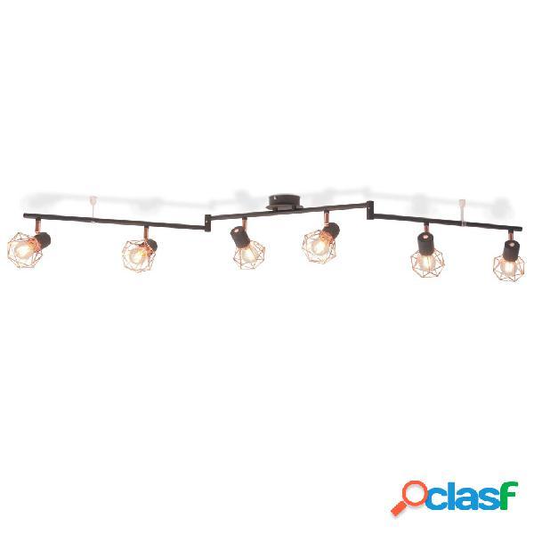 vidaXL Lámpara de techo con 6 focos E14 negra y cobre