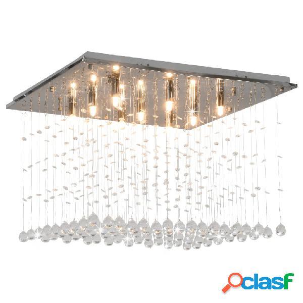 vidaXL Lámpara de techo con cuentas de cristal plateado