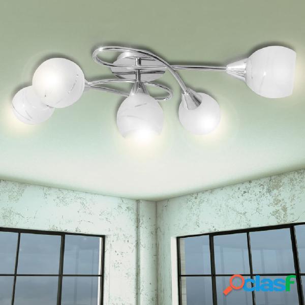 vidaXL Lámpara de techo con pantallas de cristal para 5