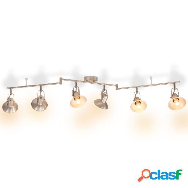 vidaXL Lámpara de techo para 6 bombillas E14 plateada