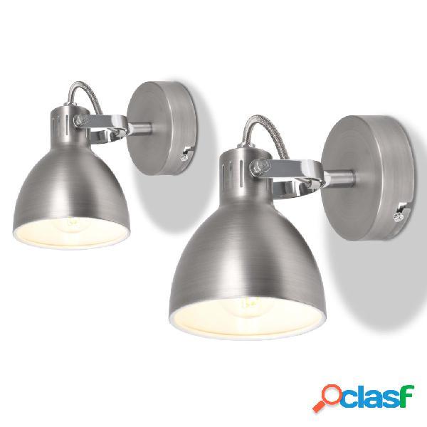 vidaXL Lámparas de pared para 2 bombillas E14 gris 2