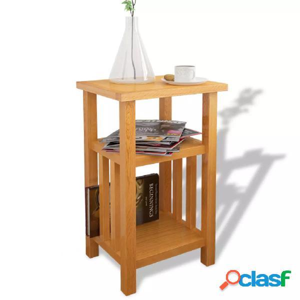 vidaXL Mesa auxiliar con estante de madera de roble maciza