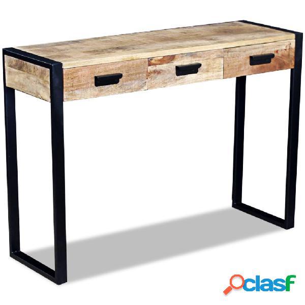 vidaXL Mesa consola con 3 cajones madera de mango 43x33x51