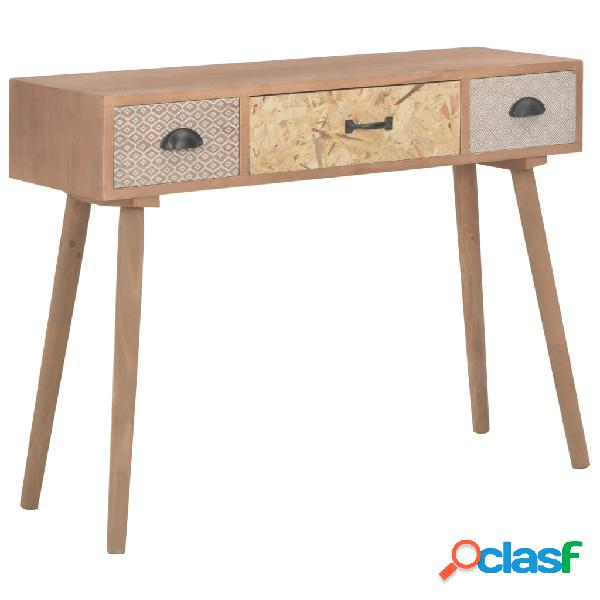 vidaXL Mesa consola con 3 cajones madera maciza de pino