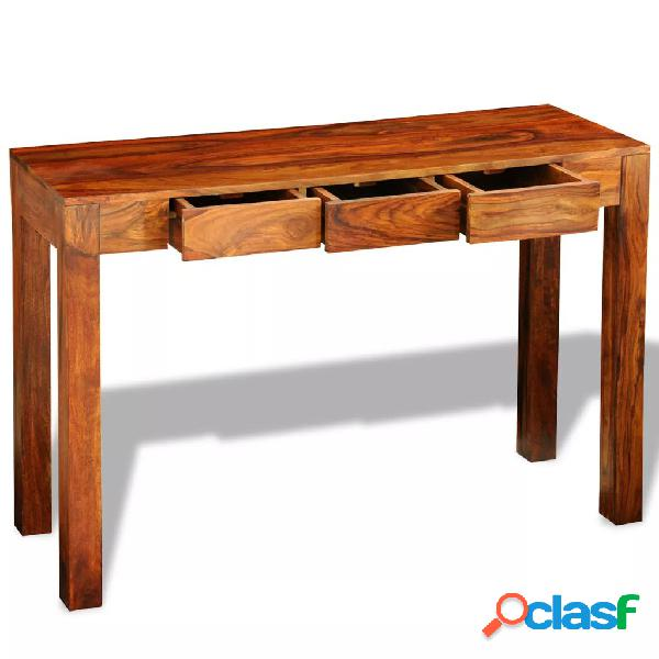 vidaXL Mesa consola con 3 cajones madera maciza sheesham 80