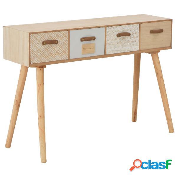 vidaXL Mesa consola con 4 cajones madera maciza de pino