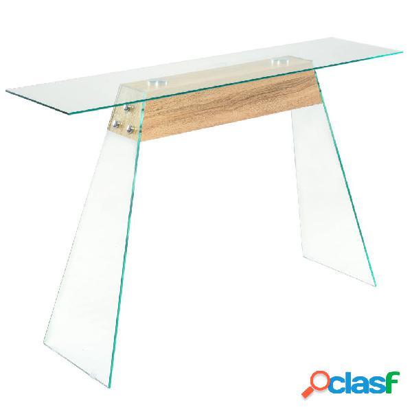 vidaXL Mesa consola de MDF y vidrio color roble 120x30x76 cm