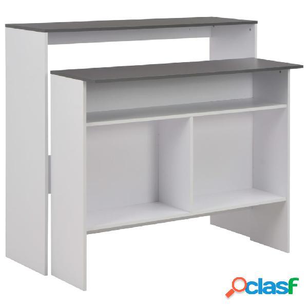 vidaXL Mesa de bar con 2 encimera blanca y gris 130x40x120