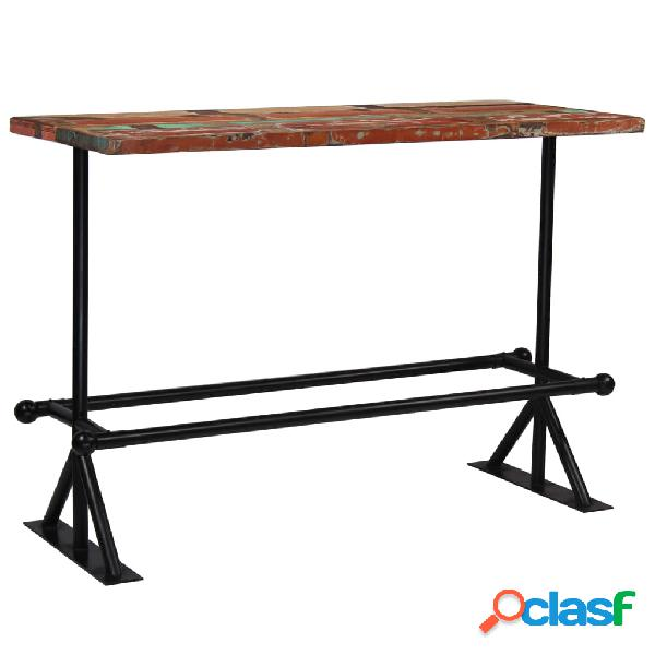 vidaXL Mesa de bar de madera maciza reciclada multicolor