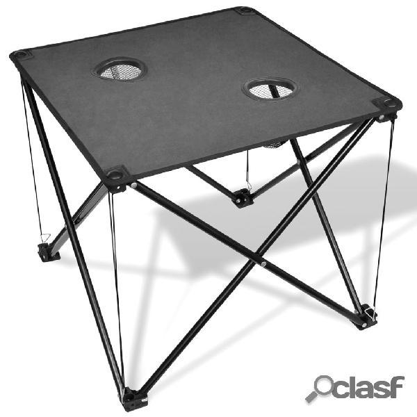 vidaXL Mesa de camping plegable gris