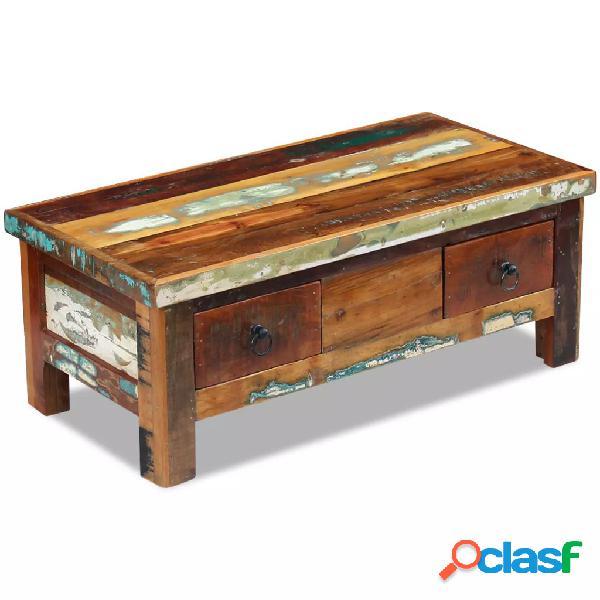 vidaXL Mesa de centro con cajones madera maciza reciclada