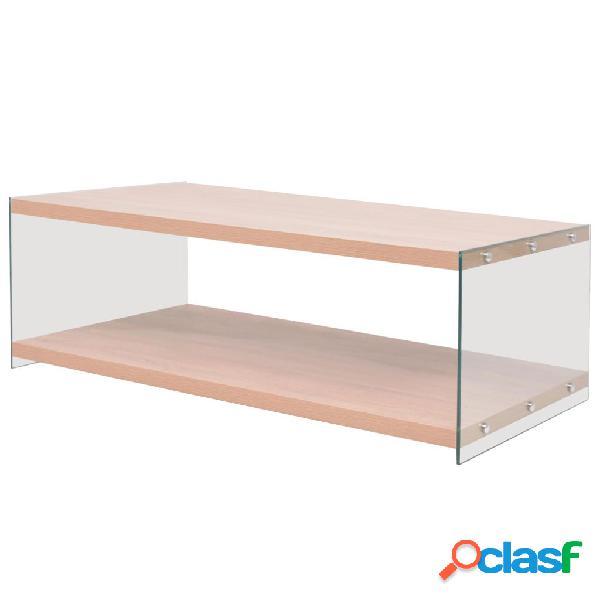 vidaXL Mesa de centro con estante vidrio y MDF color roble