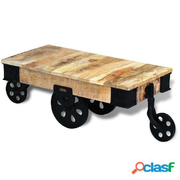 vidaXL Mesa de centro con ruedas de madera áspera de mango