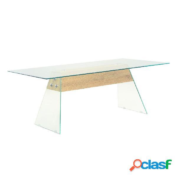 vidaXL Mesa de centro de MDF y vidrio color roble 110x55x40