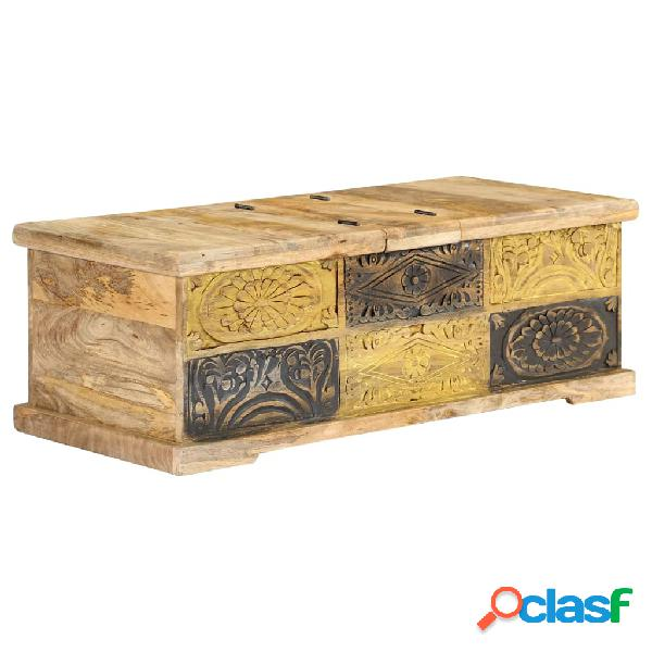 vidaXL Mesa de centro de madera de mango maciza 100x50x35 cm