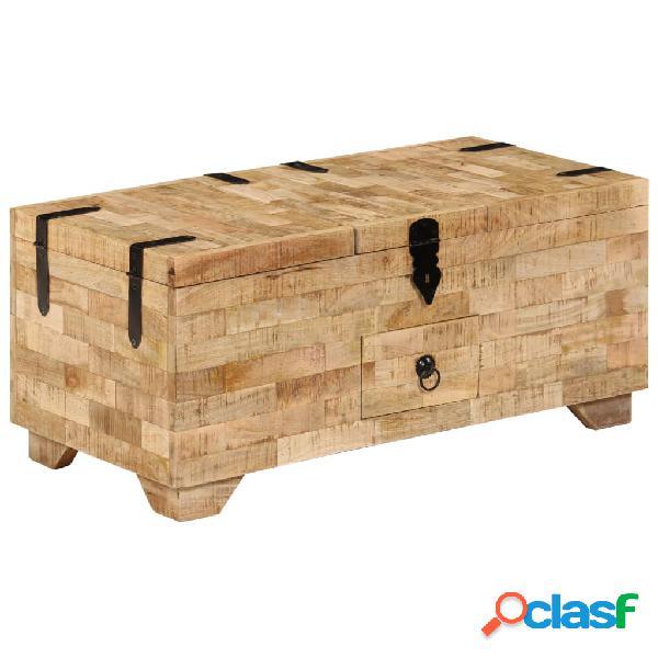 vidaXL Mesa de centro de madera de mango maciza 80x40x35 cm