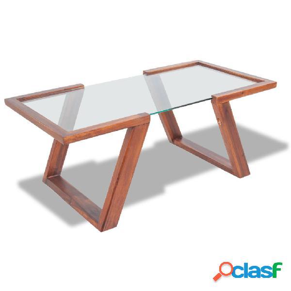 vidaXL Mesa de centro de madera maciza de acacia 100x50x40