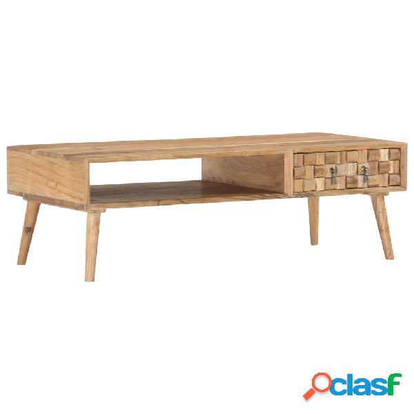 vidaXL Mesa de centro de madera maciza de acacia 110x50x35