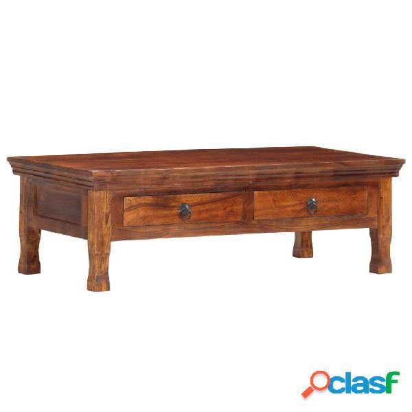 vidaXL Mesa de centro de madera maciza de acacia 110x55x35