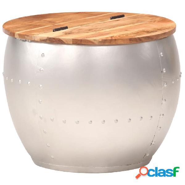 vidaXL Mesa de centro de madera maciza de acacia 53x43 cm