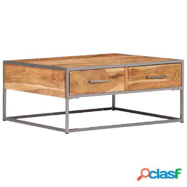 vidaXL Mesa de centro de madera maciza de acacia 75x75x35 cm