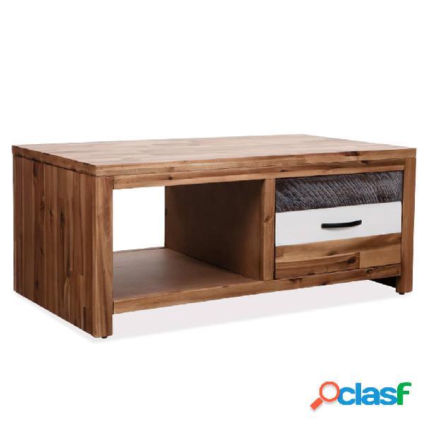 vidaXL Mesa de centro de madera maciza de acacia 90x50x37,5
