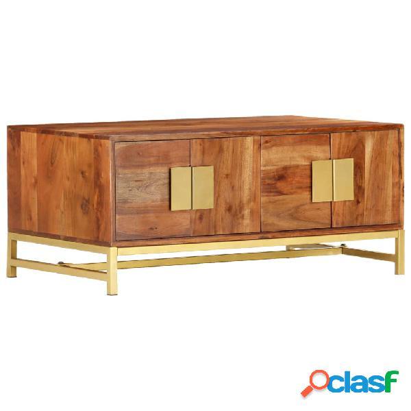 vidaXL Mesa de centro de madera maciza de acacia 90x55x40 cm