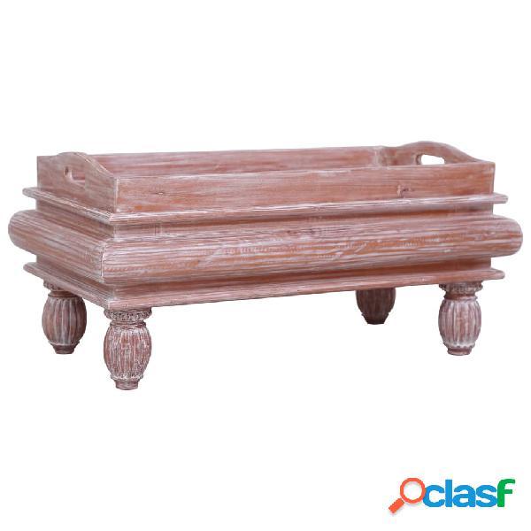 vidaXL Mesa de centro de madera maciza de caoba marrón