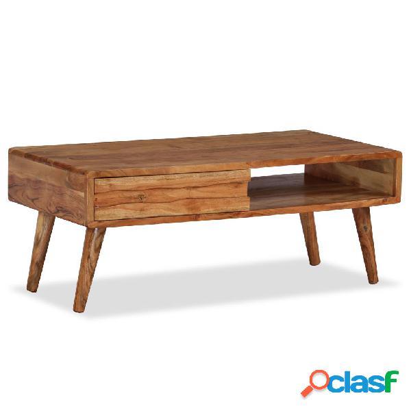 vidaXL Mesa de centro madera maciza de acacia con cajón