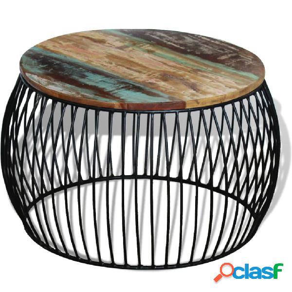 vidaXL Mesa de centro redonda madera maciza reciclada 68x43