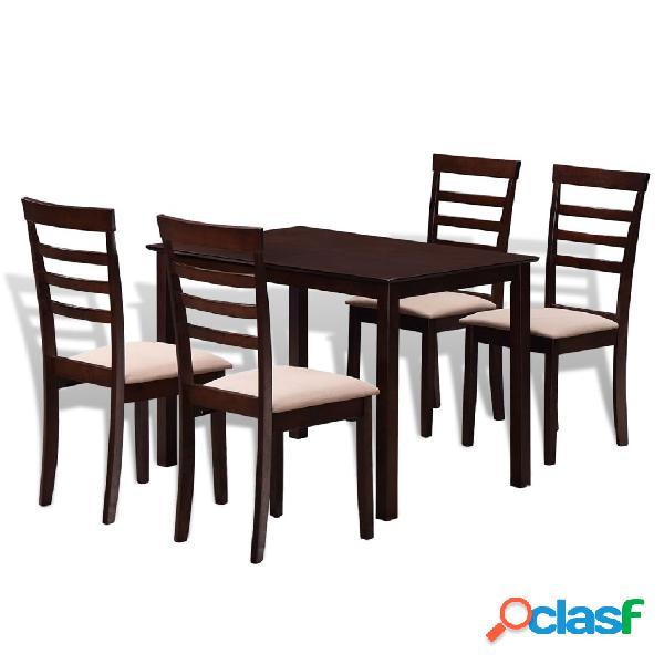 vidaXL Mesa de comedor con 4 sillas de madera maciza marrón