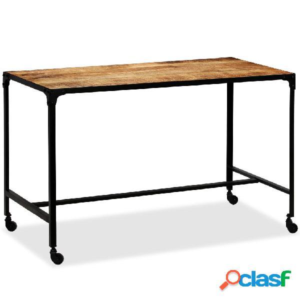 vidaXL Mesa de comedor de madera de mango maciza y acero