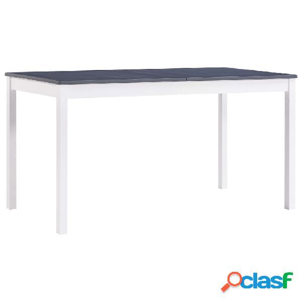 vidaXL Mesa de comedor de madera de pino blanco y gris