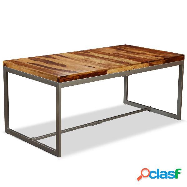 vidaXL Mesa de comedor de madera maciza de sheesham y acero
