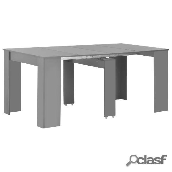 vidaXL Mesa de comedor extensible gris brillante 175x90x75