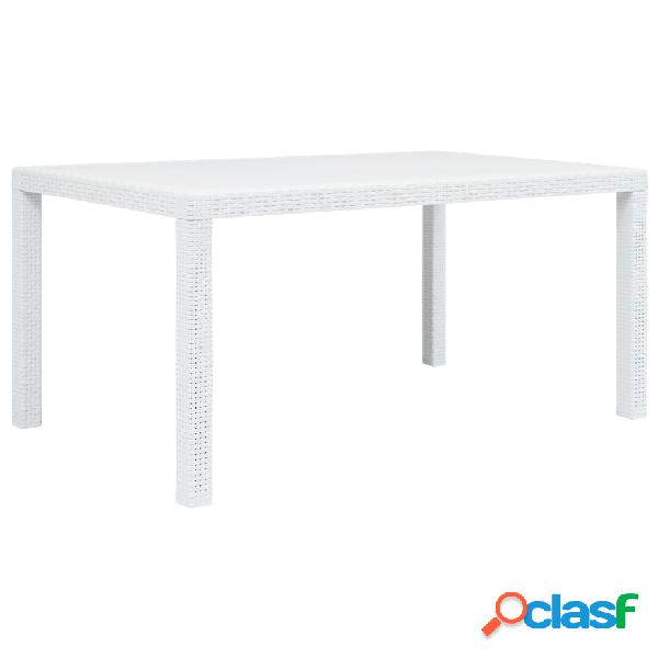 vidaXL Mesa de jardín plástico aspecto de ratán blanco