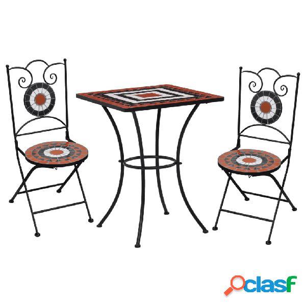 vidaXL Mesa y sillas bistró 3 pzas mosaico cerámica