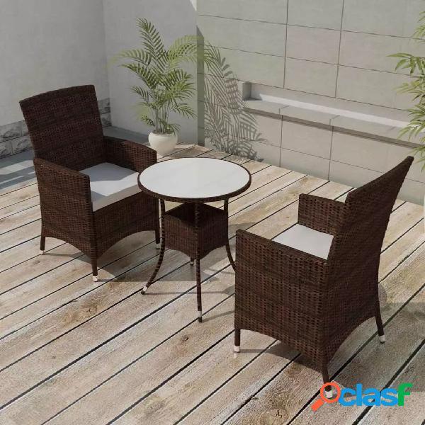 vidaXL Mesa y sillas bistró jardín 3 pzas y cojines poli